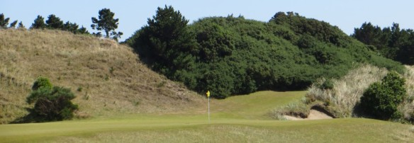 The target on #16 is a sliver of green hanging perilously over a chasm.