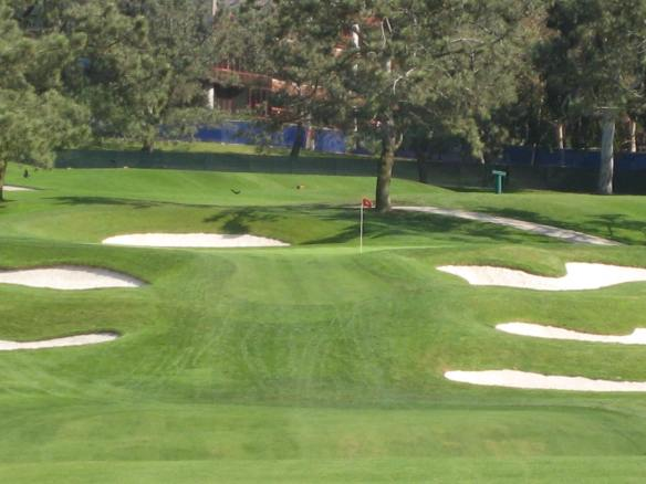 The five-par 13th was one of the few good scoring opportunities on the inward nine.