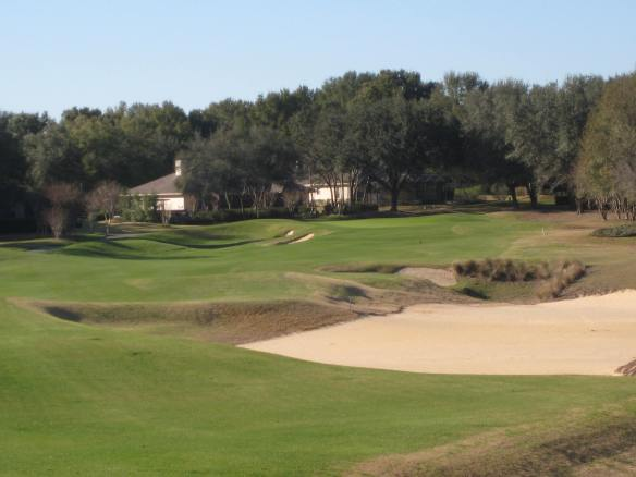 The use of large sand waste area on the 11th obviates the need for a water hazard